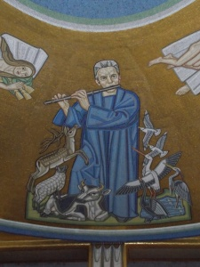 Carl Nielsen as Orpheus (or Tamino?): ceiling mosaic adjacent to the Royal Theatre, Copenhagen.